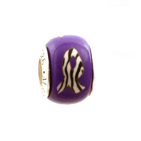 Carcinoid and Neuroendocrine Tumor Zebra Ribbon on Purple Charm