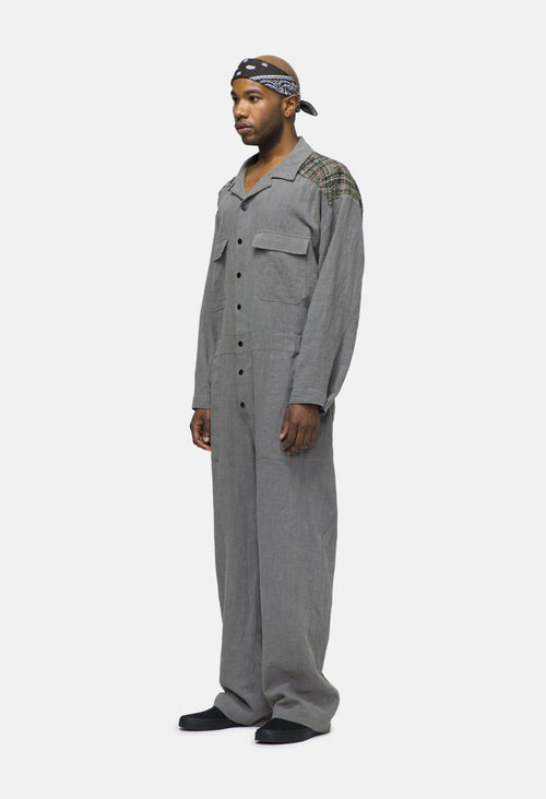 LINEN JUMPSUIT WITH TWEED