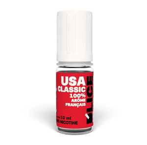 USA Classic flavoured vaping fluid, bottle of 10ml - Bright red bottle with raised triangle warning sticker for blind or partially sighted people