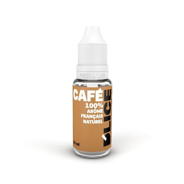 Coffee Cafe vaping fluid bottle of 10ml - Light brown bottle with raised triangle warning sticker for blind or partially sighted people