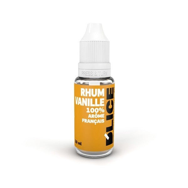 Rum & Vanilla flavoured vaping fluid, bottle of 10ml - Light brown bottle with raised triangle warning sticker for blind or partially sighted people