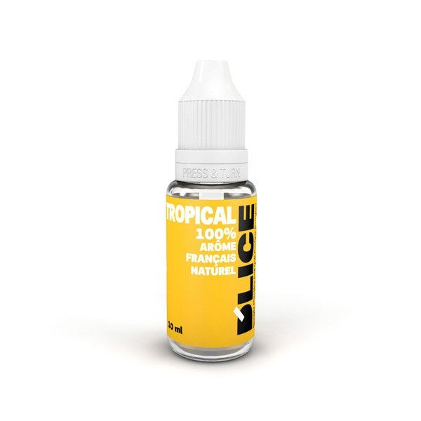 Tropical flavoured vaping fluid, bottle of 10ml - Light yellow bottle with raised triangle warning sticker for blind or partially sighted people