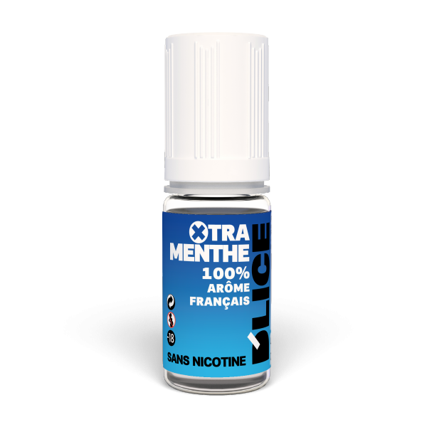 Extra Menthol Mint flavoured vaping fluid, bottle of 10ml - Blue bottle with raised triangle warning sticker for blind or partially sighted people