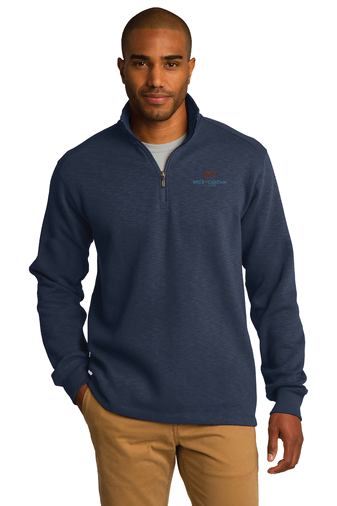 Port Authority® Slub Fleece 1/4-Zip Pullover (Navy)