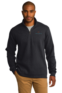 Port Authority® Slub Fleece 1/4-Zip Pullover (Black)