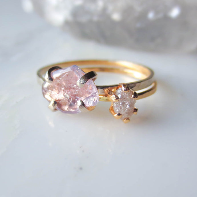 Pink Sapphire Engagement Ring | Raw Sapphire Ring