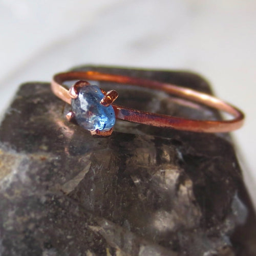 Rose Gold Raw Sapphire Ring