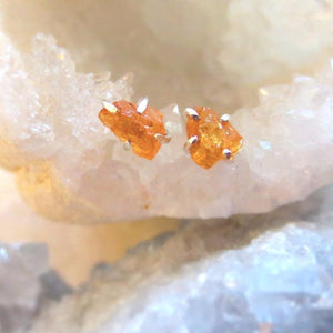 Raw Orange Garnet Earrings