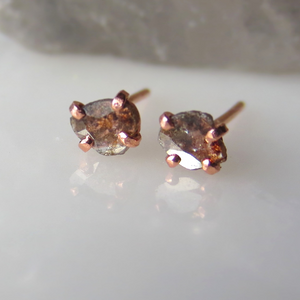 Rose Cut Chocolate Diamond Earrings | Freeform Diamond Slice Earrings | Made To Order