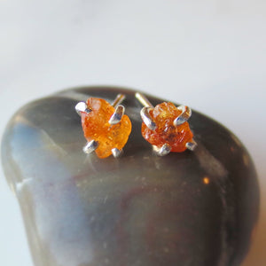 Silver Garnet Post Earrings