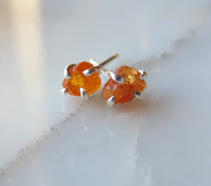 Orange Garnet Silver Earrings