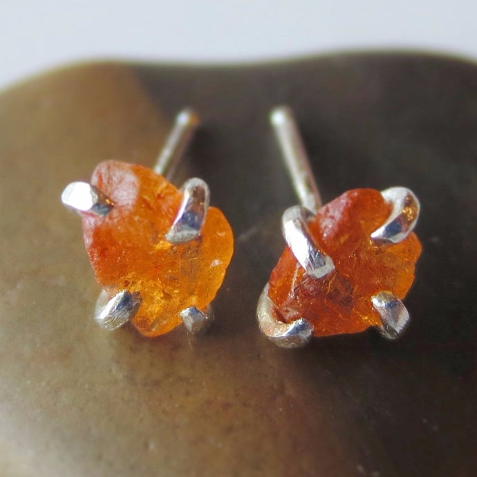 Raw Mandarin Garnet Earrings
