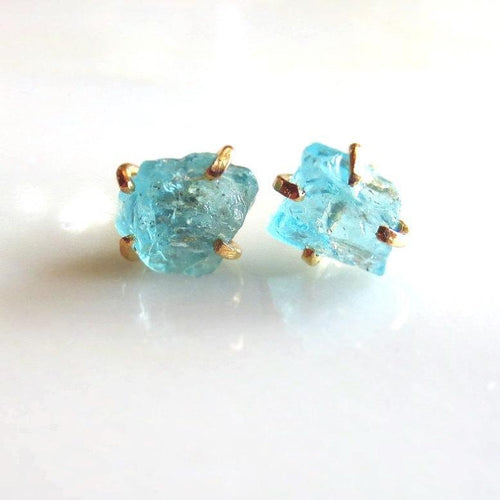 Raw Gemstone Stud Earrings | Apatite and Aquamarine | Made To Order