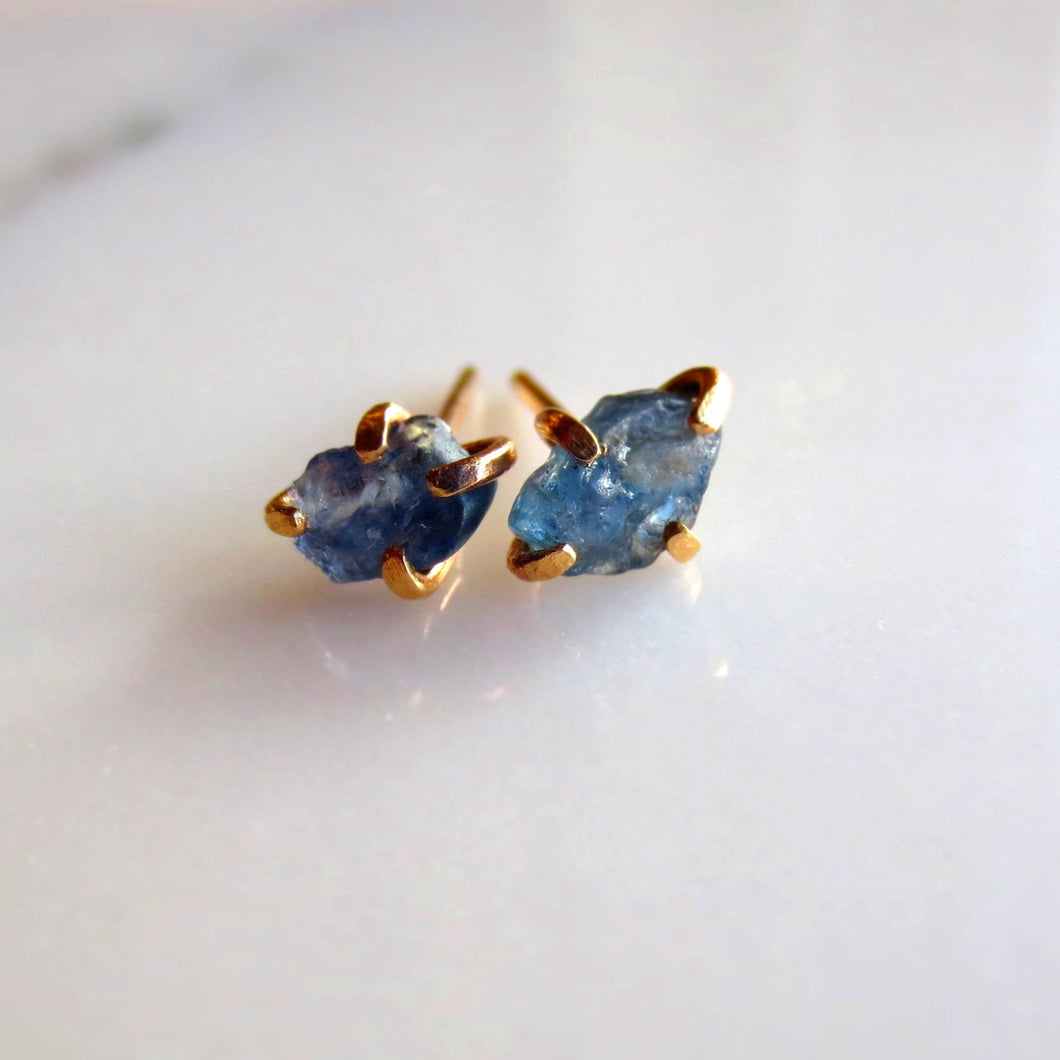 Raw Blue Sapphire 14K Gold Earrings