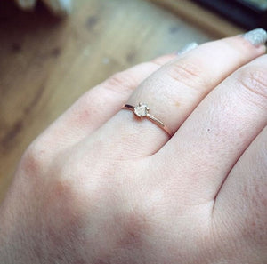 Diamond Slice Ring On Hand