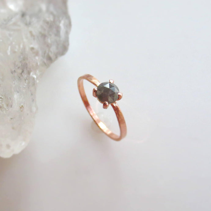 Dark Grey Round Diamond Ring