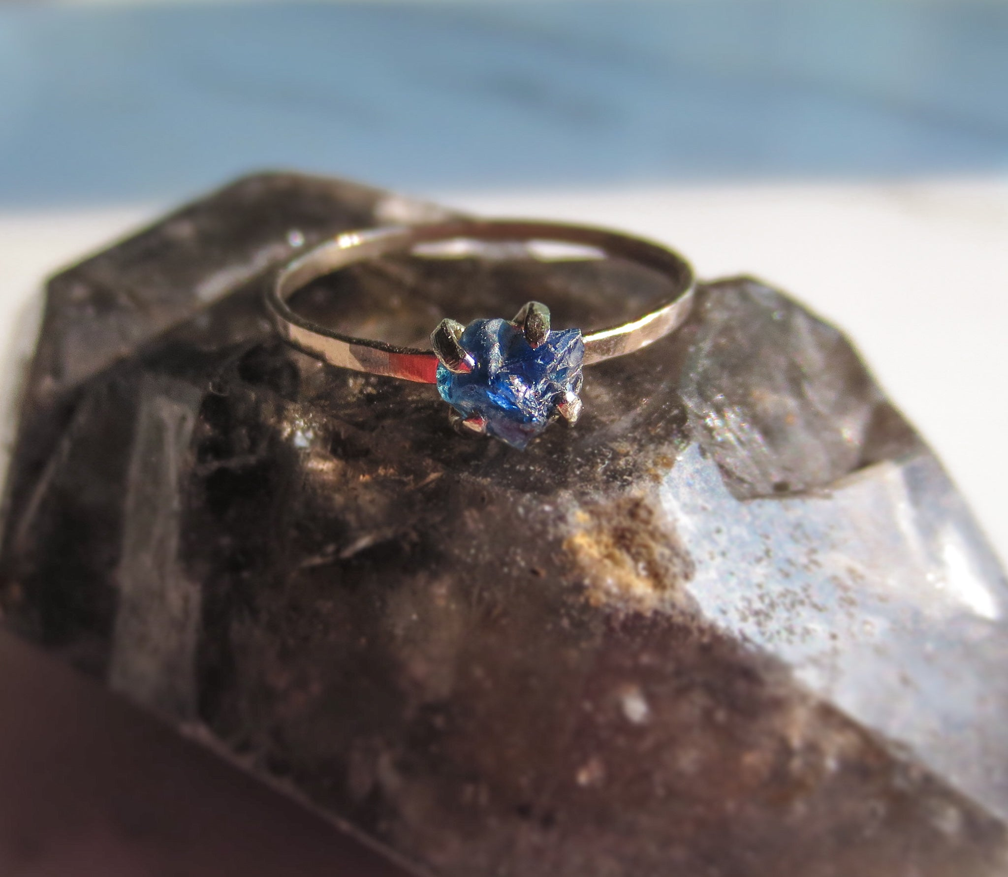 Raw Sapphire Ring | Natural Blue Sapphire Stacking Ring | Made To Order