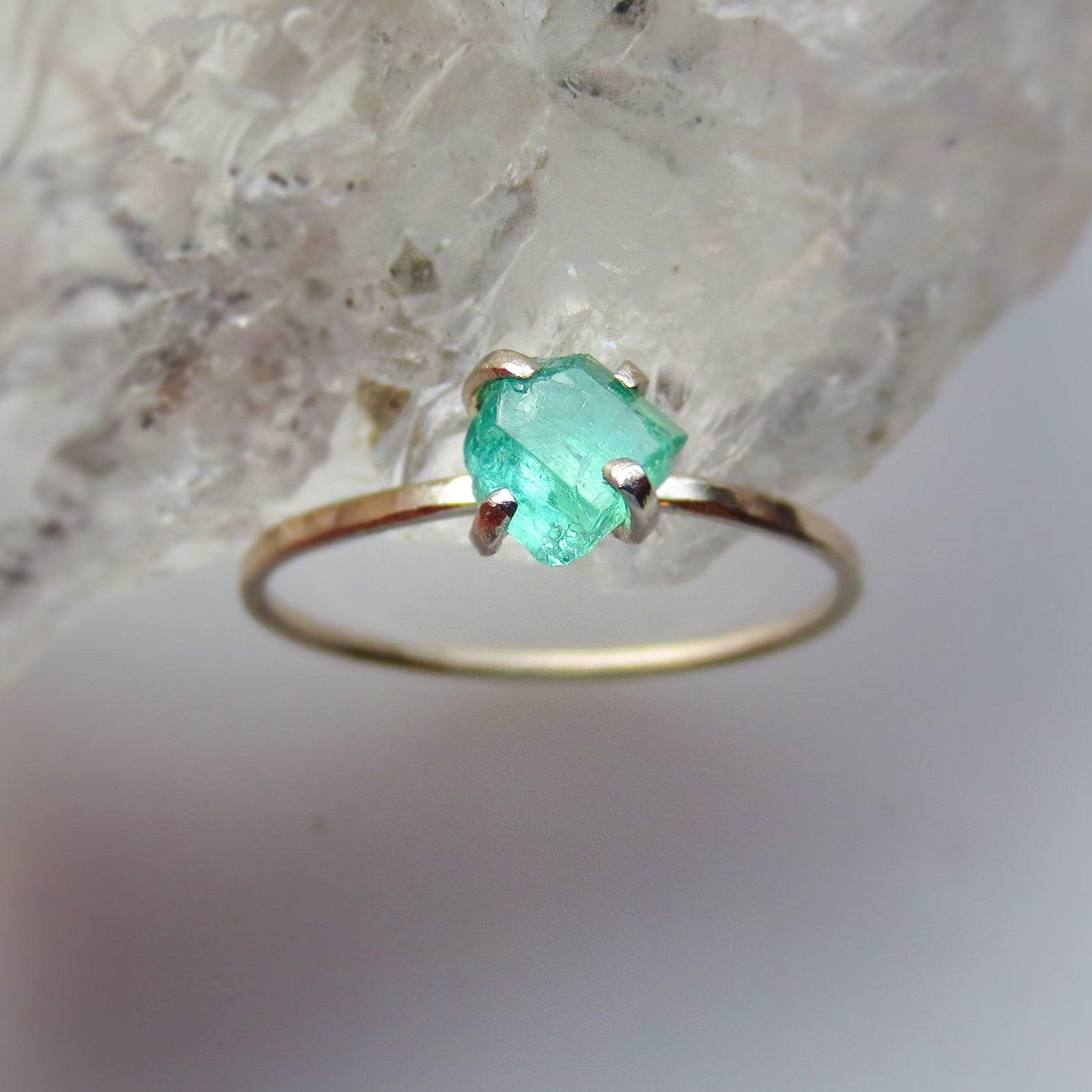 Raw Emerald White Gold Ring | US Ring Size 6.5 | Ready To Ship - sample sale