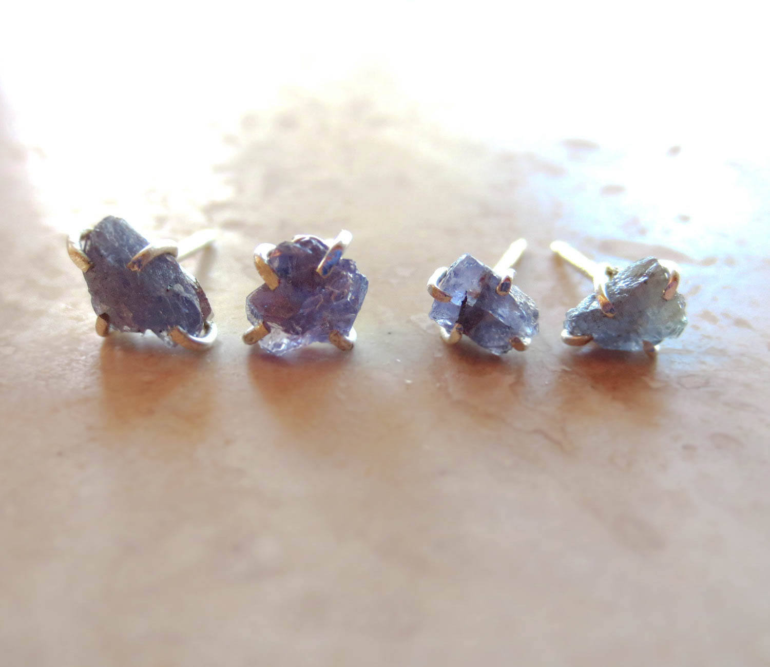 Raw Natural Tanzanite Earring | Conflict Free Tanzanite Earrings