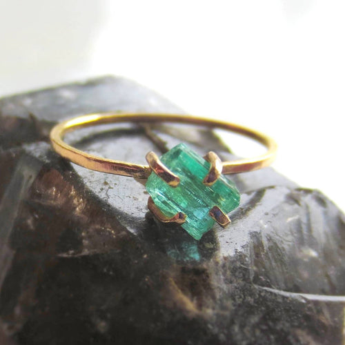 Raw Green Emerald and 14k Yellow Gold Ring