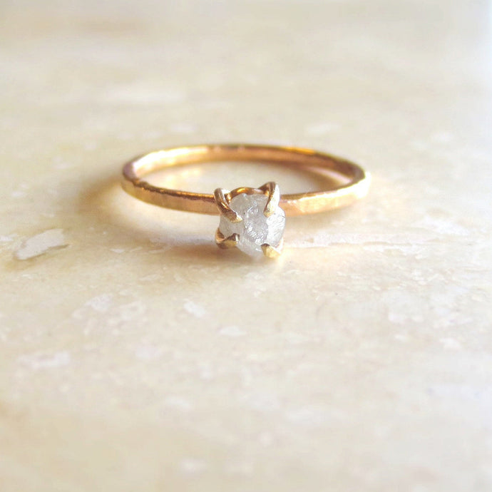 Yellow Gold Raw Diamond Ring