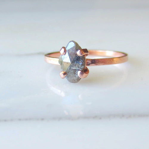 Custom Rustic Diamond Ring | Freeform Diamond Slab | Rose Cut Diamond Ring