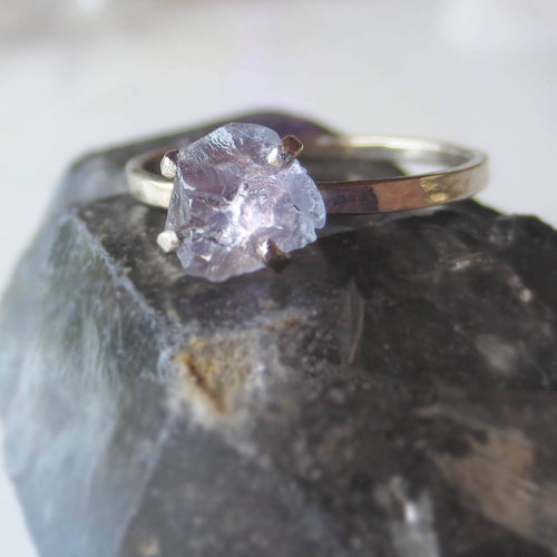 Purple Sapphire Engagement Ring | Raw Sapphire Ring