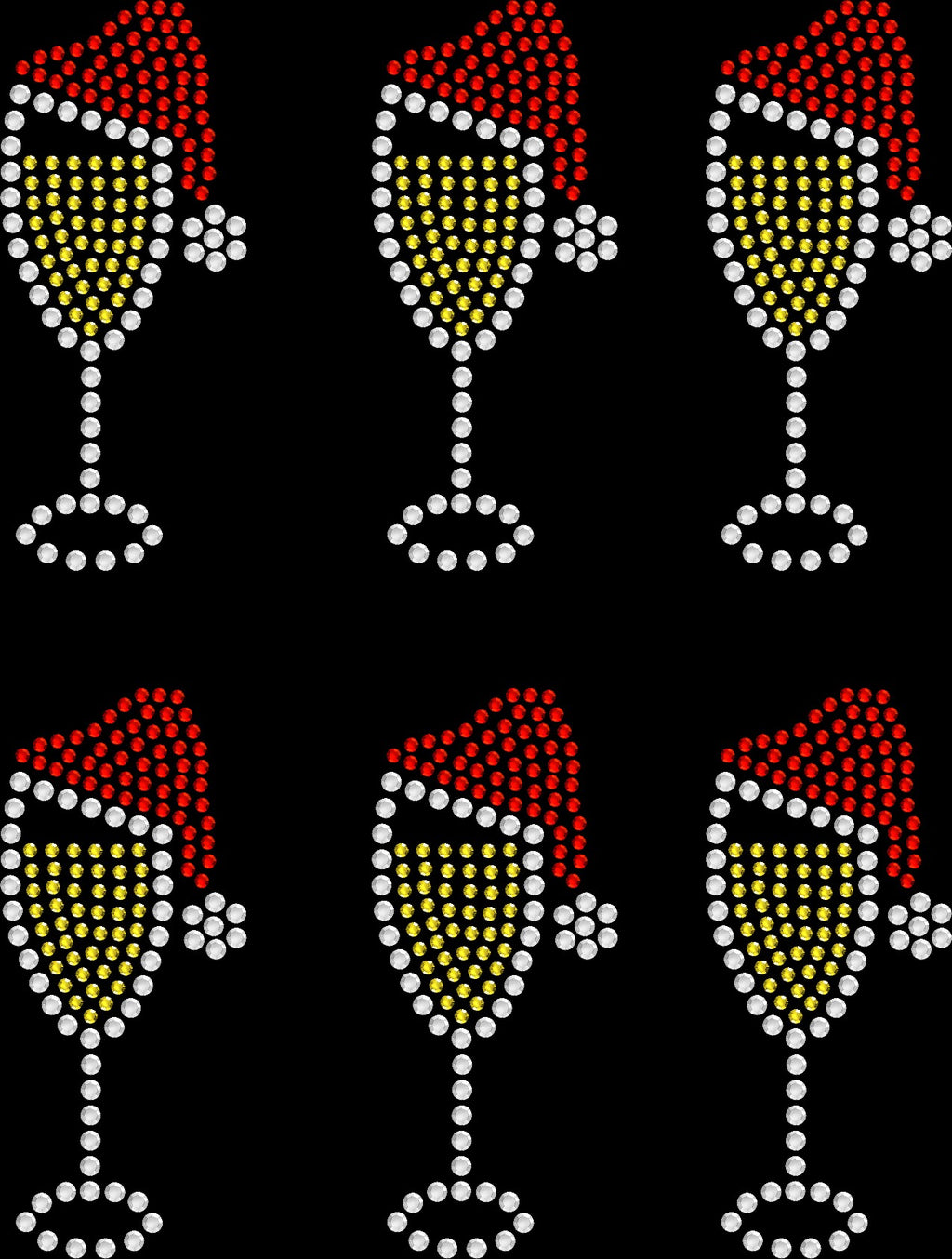 Face Masks Transfers Set of 6 - Christmas Champagne Glass