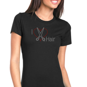 Womens T-Shirt Bling Black Fitted Tee I Love Scissors Heart