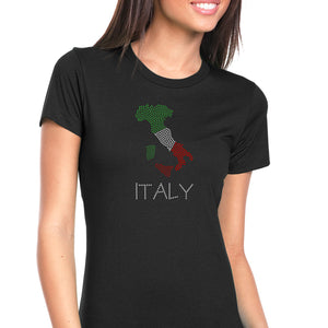 Womens T-Shirt Bling Black Fitted Tee Italy Italia Boot Map Flag