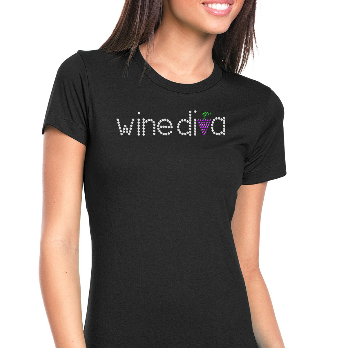 Womens T-Shirt Bling Black Fitted Tee Wine Diva Grapes