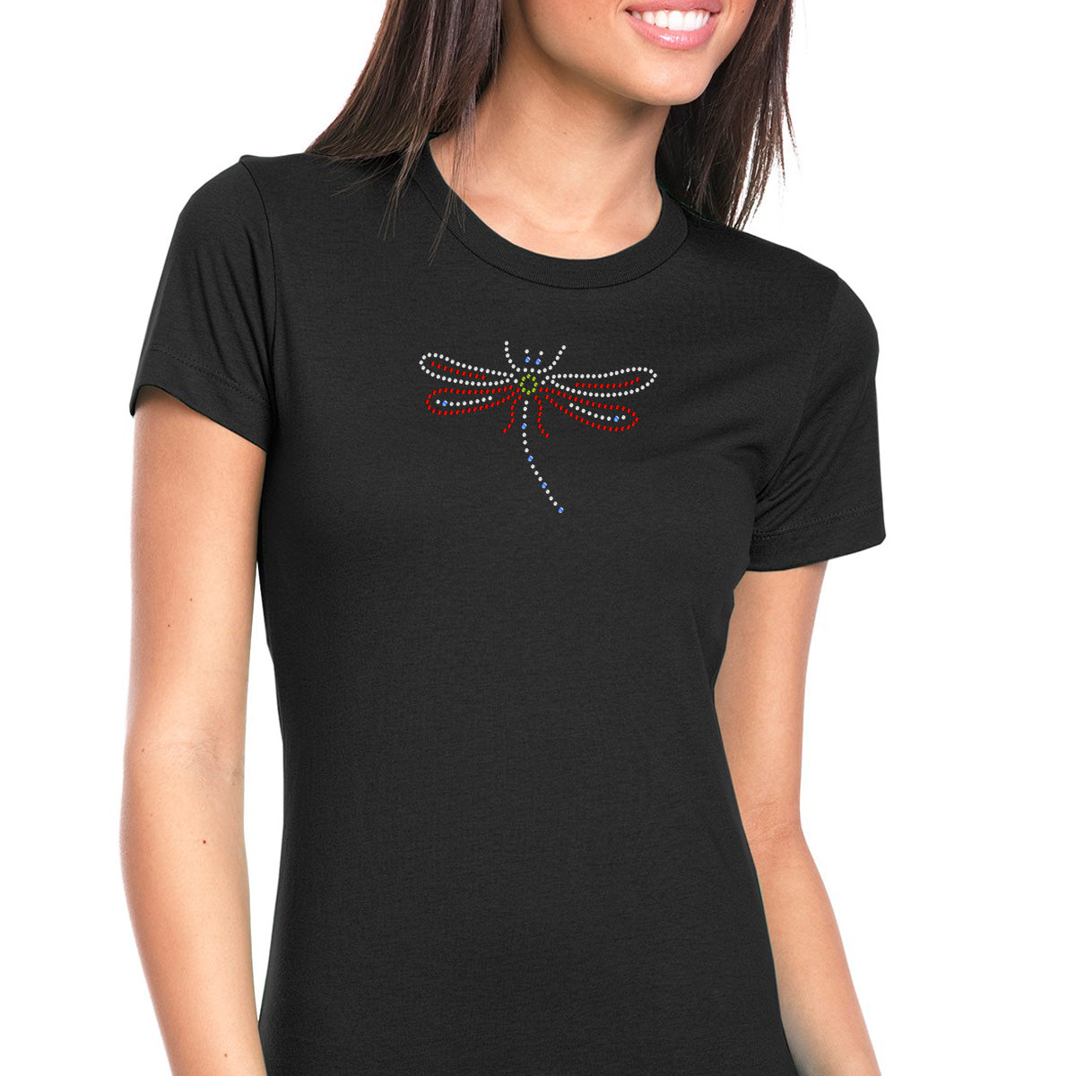 Womens T-Shirt Bling Black Fitted Tee Red Crystal Clear Dragonfly