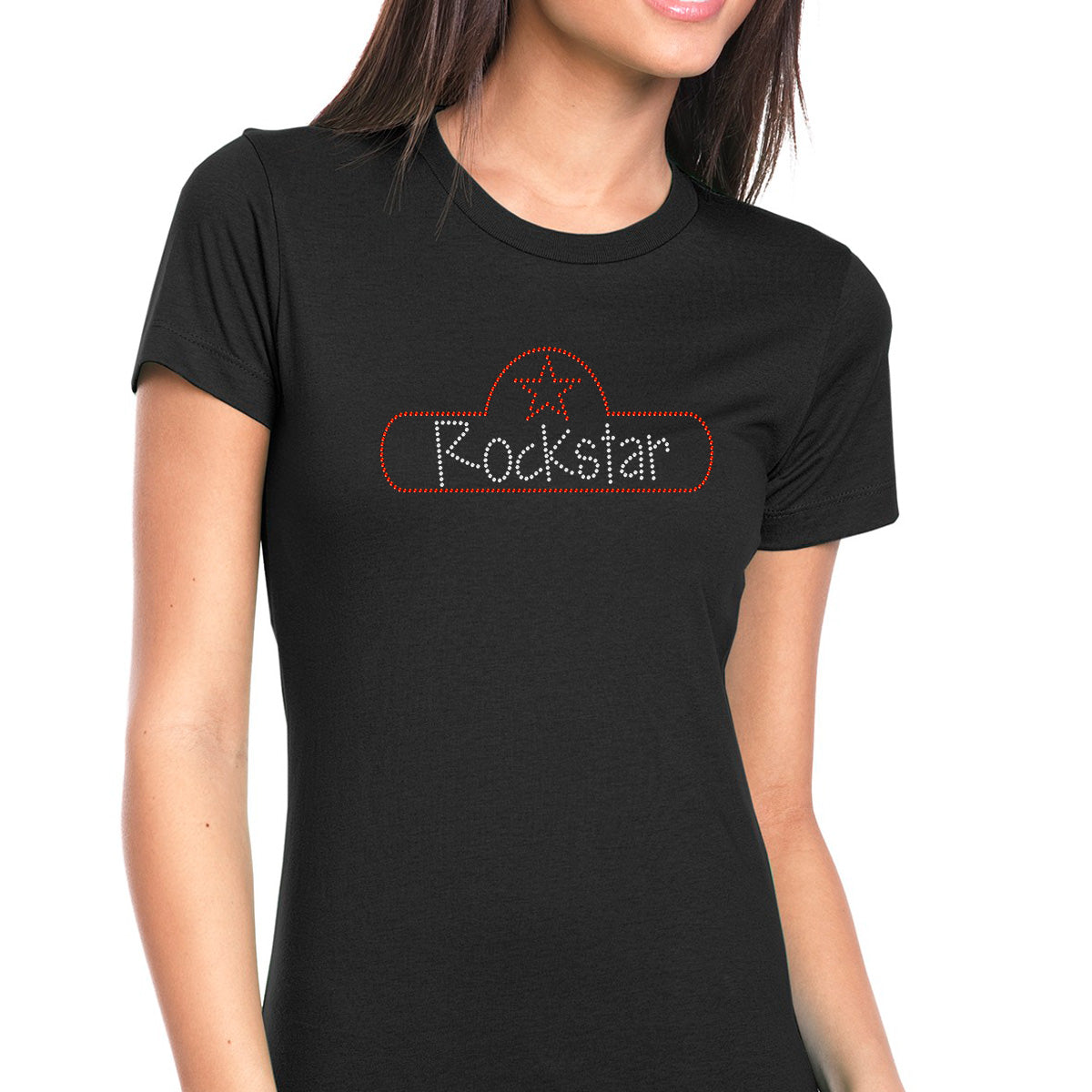 Womens T-Shirt Bling Black Fitted Tee Rockstar Star Sign Red