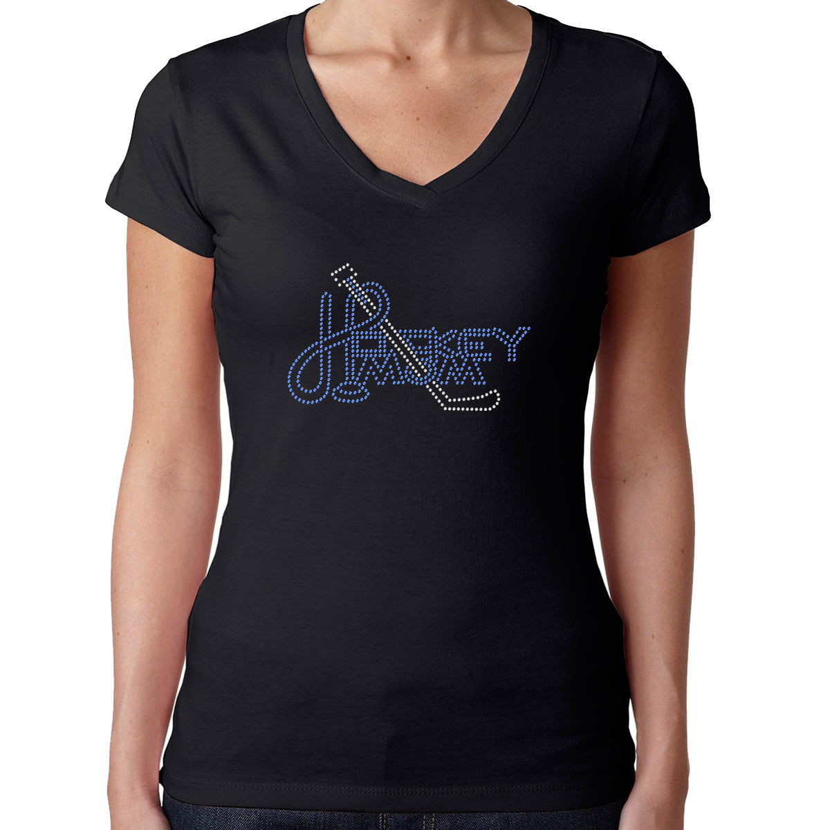 Womens T-Shirt Bling Black Fitted Tee Hockey Mom Stick Blue