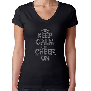 Womens T-Shirt Bling Black Fitted Tee Keep Calm and Cheer