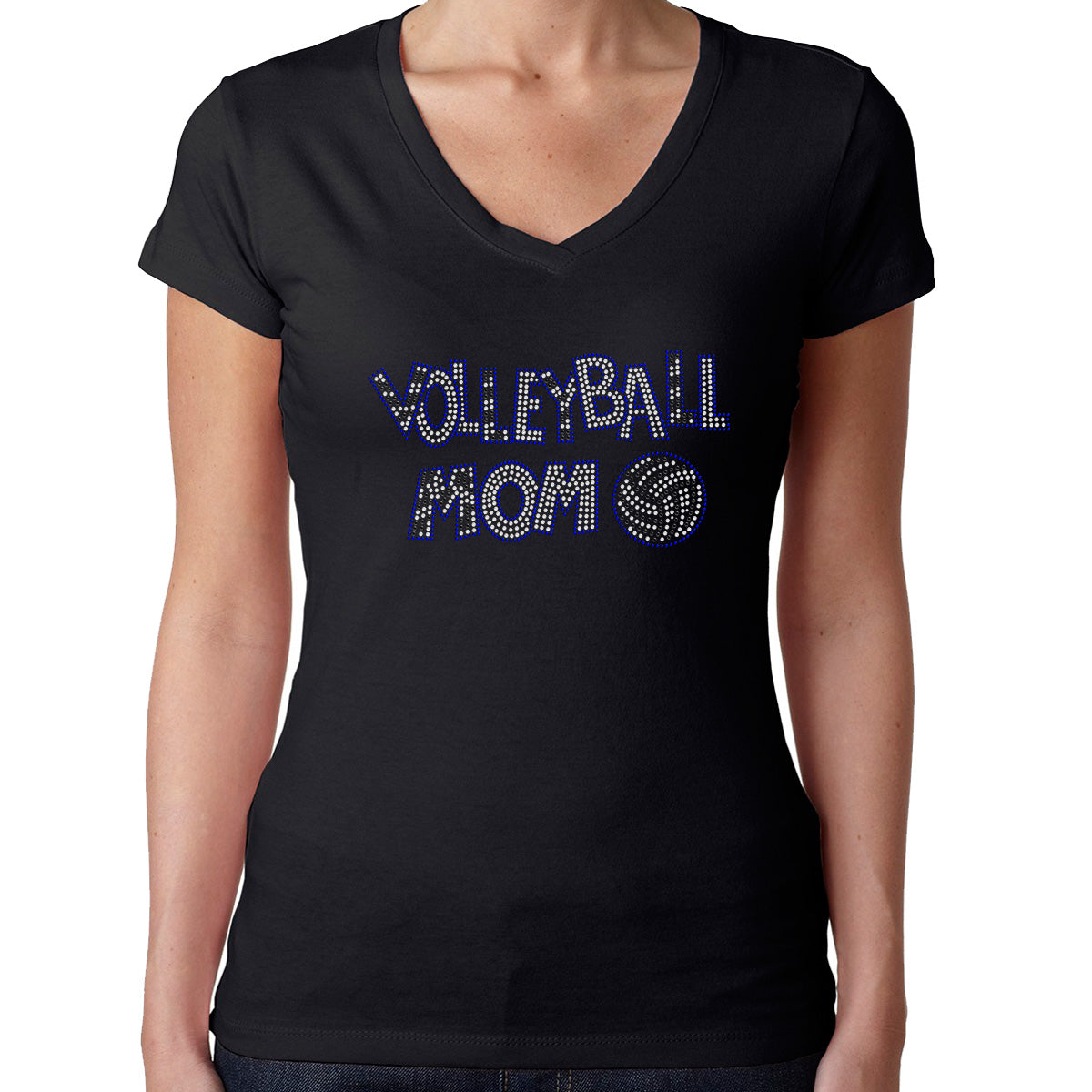 Womens T-Shirt Rhinestone Bling Black Fitted Tee Volleyball Mom Sports
