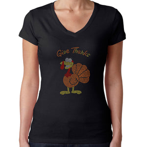 Womens T-Shirt Rhinestone Bling Black Fitted Tee Thanksgiving Give Thanks Turkey