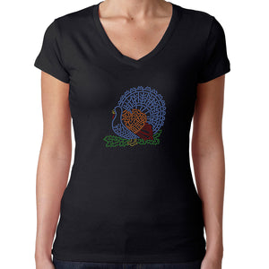 Womens T-Shirt Rhinestone Bling Black Fitted Tee Thanksgiving Turkey