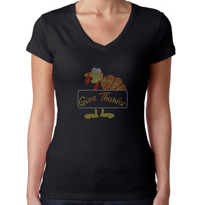 Womens T-Shirt Rhinestone Bling Black Fitted Tee Thanksgiving Turkey Give Thanks