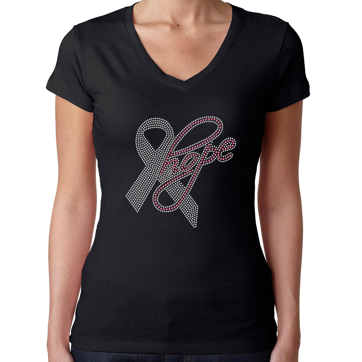 Womens T-Shirt Rhinestone Bling Black Fitted Tee Hope Pink Ribbon