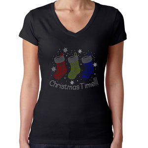 Womens T-Shirt Rhinestone Bling Black Fitted Tee Christmas Time Stockings
