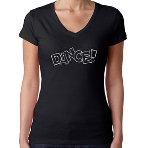 Womens T-Shirt Rhinestone Bling Black Fitted Tee Dance Fashion White Crystal