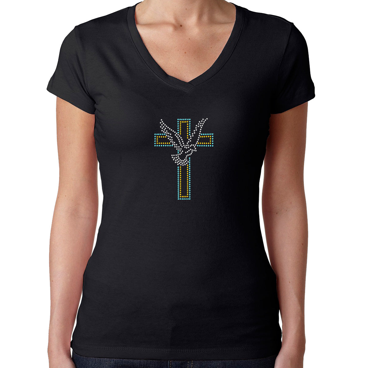 Womens T-Shirt Rhinestone Bling Black Fitted Tee Catholic Cross Peace Dove