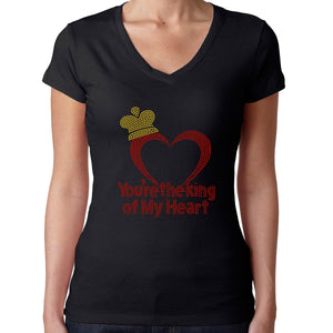 Womens T-Shirt Rhinestone Bling Black Fitted Tee You are the King my Heart Love