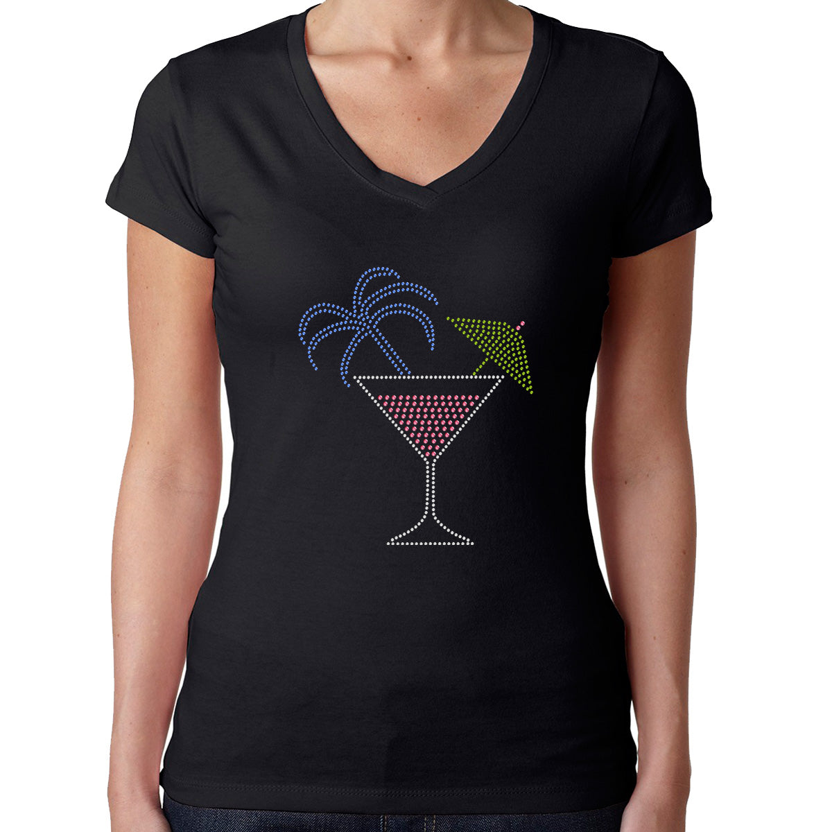 Womens T-Shirt Rhinestone Bling Black Fitted Tee Tropic Caribbean Drink Glass