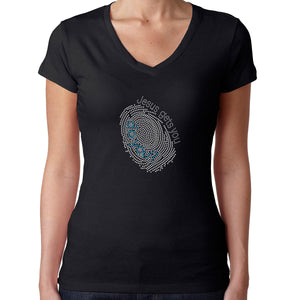 Womens T-Shirt Rhinestone Bling Black Fitted Tee Fingerprint Jesus Get You