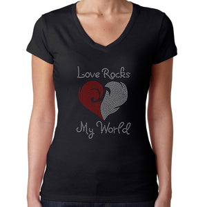 Womens T-Shirt Rhinestone Bling Black Fitted Tee Love Rocks My World Heart