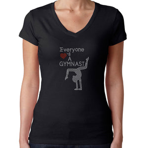 Womens T-Shirt Rhinestone Bling Black Fitted Tee Everyone Loves a Gymnast