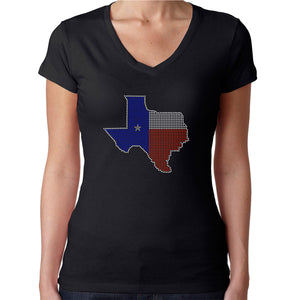 Womens T-Shirt Rhinestone Bling Black Fitted Tee Texas Flag Map