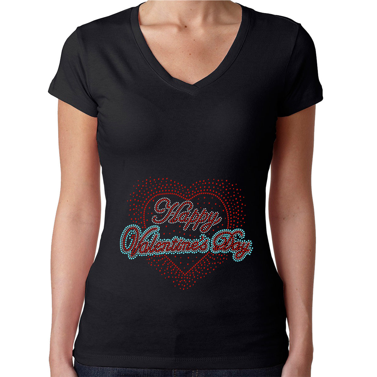 Womens T-Shirt Rhinestone Bling Black Fitted Tee Happy Valentines Day Love Heart